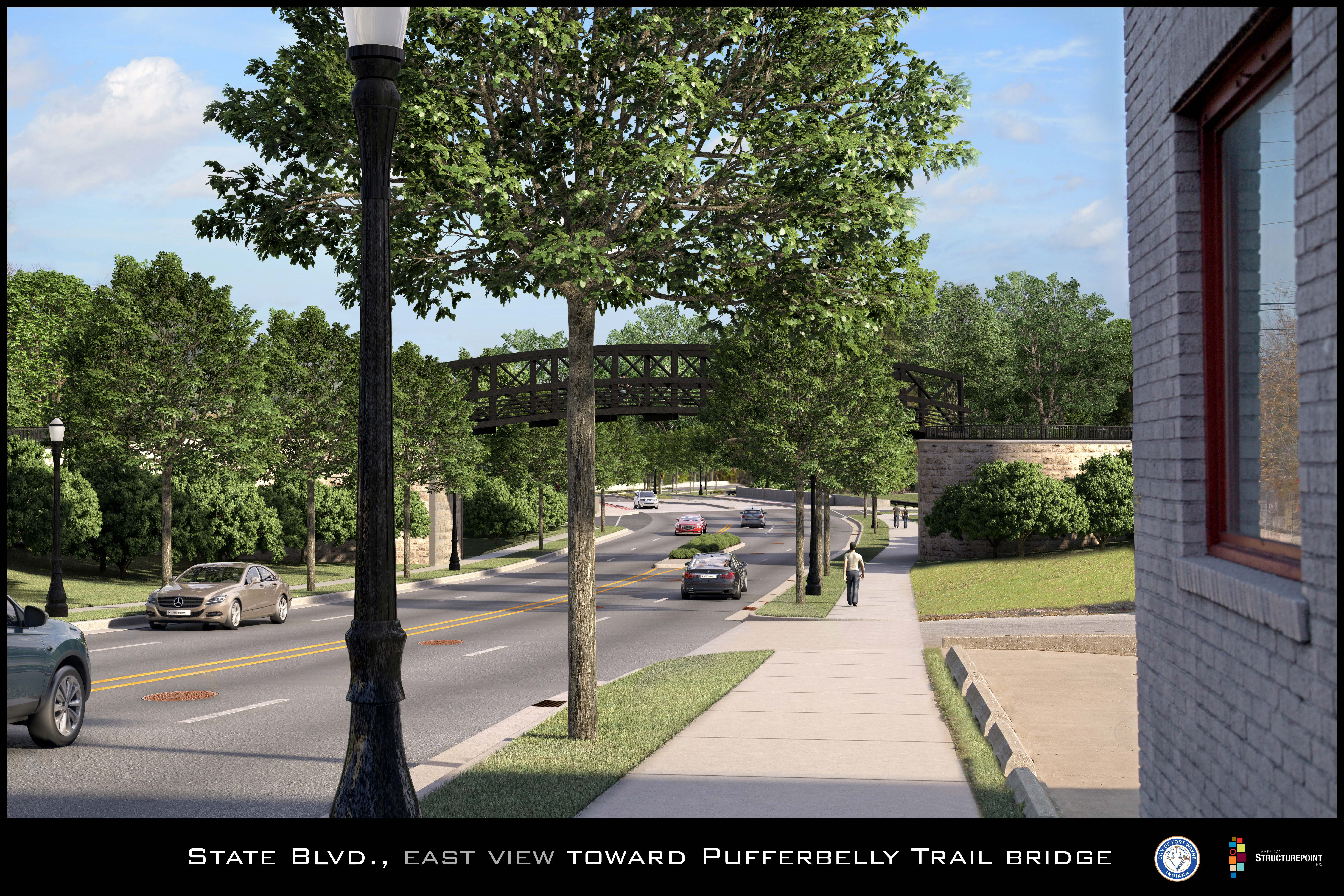 State East View Towards Ped Bridge Proposed