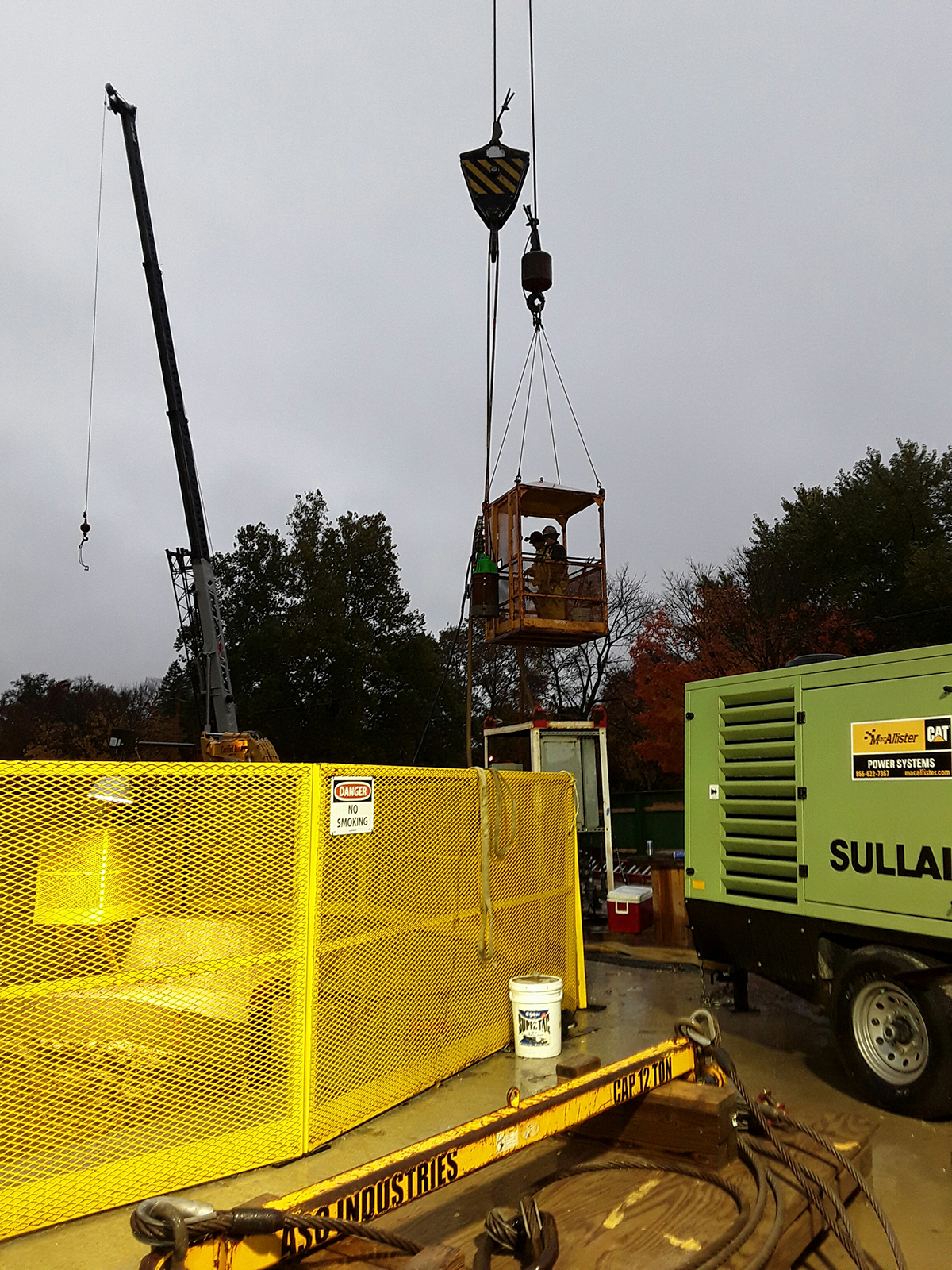 2019 10 31 RS Stiffler and Tuwah being lowered into the shaft to install a larger pump at 833